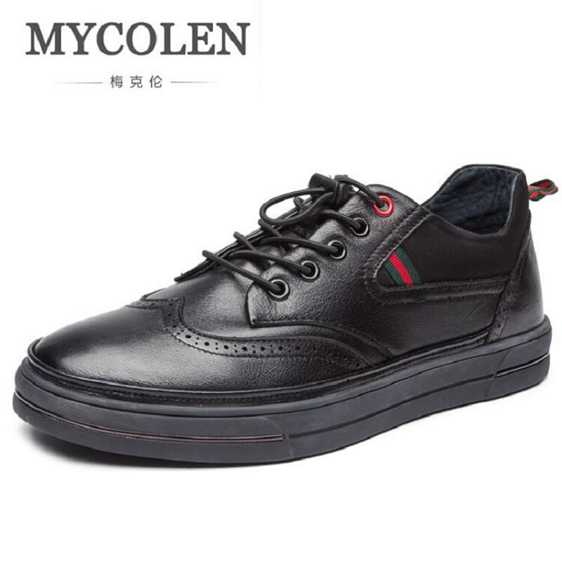 MYCOLEN Top Quality Casual Shoes Men British Style Carved Leather Shoes Black Brogue Shoes Lace-Up Comfortable Men Shoes black sequins embellished open back lace up top
