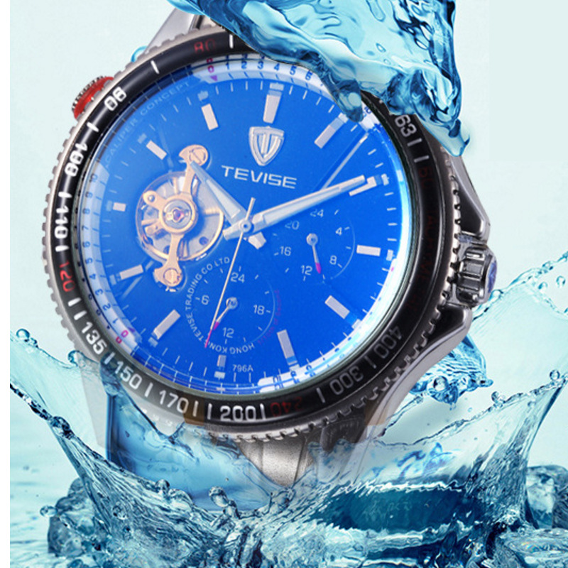 Promotion Tevise Brand Top Men Mechanical Watch Fashion Luxury Tourbillon Automatic Stainless Steel Watches Relogio masculino tevise men black stainless steel automatic mechanical watch luminous analog mens skeleton watches top brand luxury 9008g