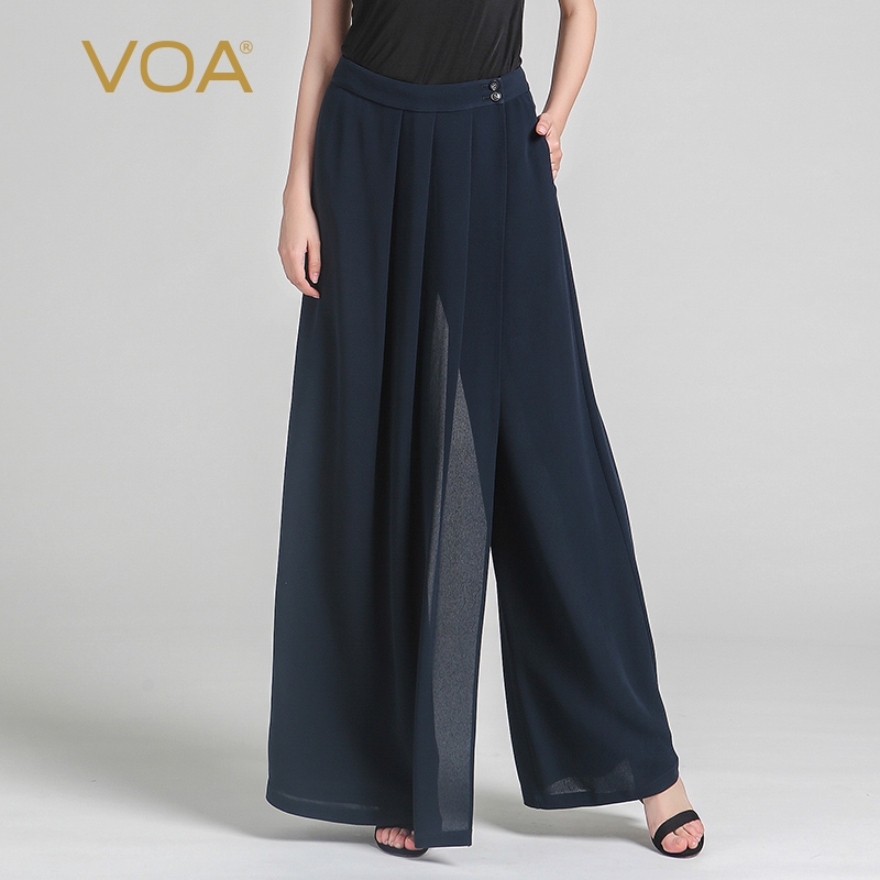 VOA 2017 Summer Navy Blue Heavy Silk Wide Leg Pants Fashion Plus Size Spring New Loose Solid Brief Women Casual Trouser KLH00301 inc new navy blue women s size 16 gathered hem linen capri cropped pants $69