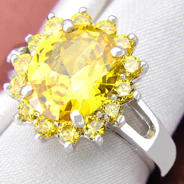 Promotion Ring Luckyshine Fire Square Created Yellow Stone Silver