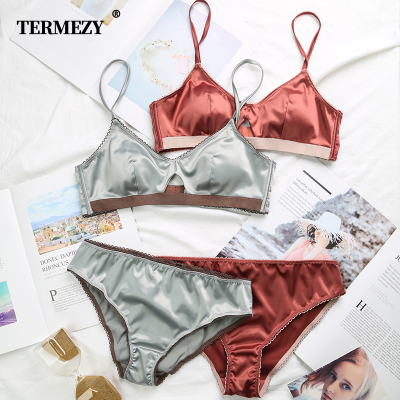TERMEZY New Women Underwear Wire Free Satin Bra Thin 3/4 Cups Bra And Panty Set Hollow Lingerie Women Brassiere Bralette