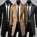 Doble botonadura abrigo de lana para hombres de negocios ocasional otoño e invierno para hombre de la cachemira abrigo slim fit trench coat chaqueta larga