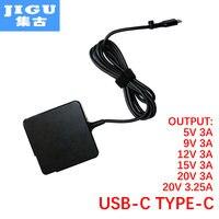 JIGU Fast Charger Type C Power Adapter 65W 5V3A 9V3A 12V3A 15V3A 20V3 25A 20V3A For