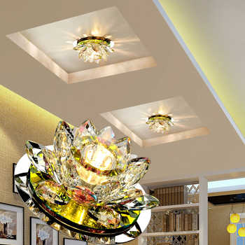 LAIMAIK Crystal LED Ceiling Light 3W AC90-260V Modern LED Crystal Lamp Aisle Light Lamp Hall Lighting Pumpkin Lotus Lights - DISCOUNT ITEM  47% OFF All Category