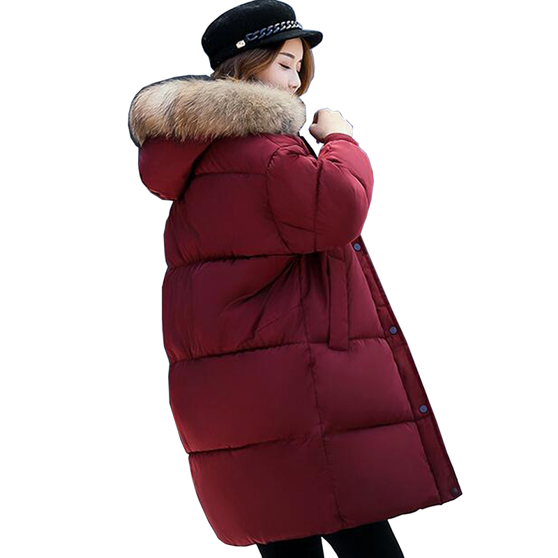 Winter Coat Women 2017 New Plus Size Loose Winter Jackets Female Thick Warm Parkas Cotton Coat Padded Fur Collar Outerwear LU413 women winter down cotton jacket coat long parkas 2017 thick warm flocking cotton outerwear plus size female loose jackets okxgnz