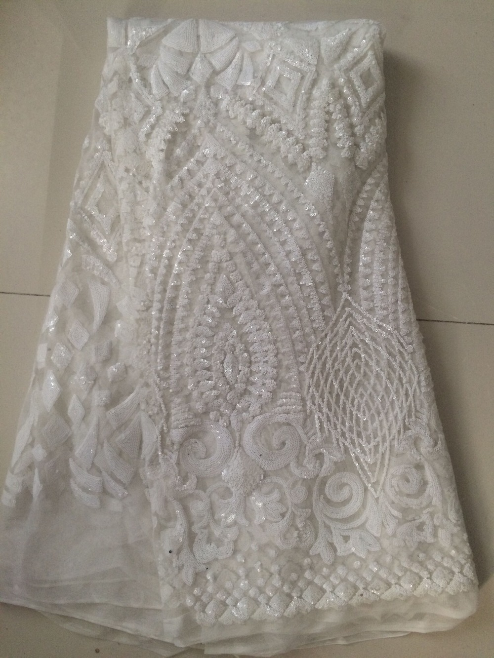 Buy sequins lace fabric for wedding dress for Wedding dress fabric stores