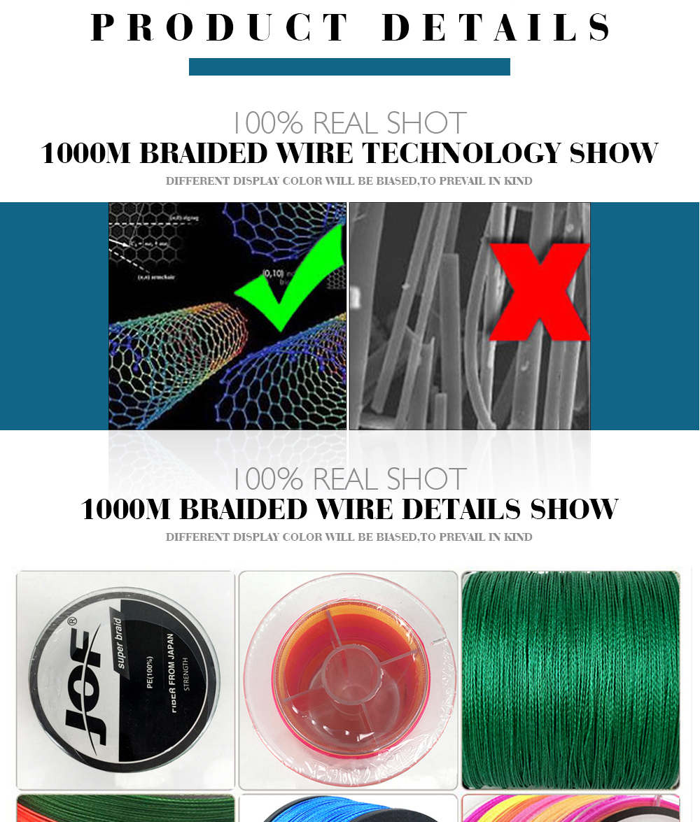 1000m 8 strands Multicolour PE Braided Wire Multifilament Fishing Line Fishing Tackle 15LBS-80LBS 8