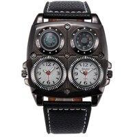 OULM Для мужчин часы классные спортивные Повседневное кварцевые наручные часы кожаный ремешок Oversize Военный компас набрать 2 часового пояса, ч...