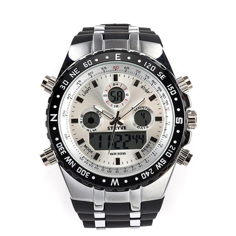 Montre Homme Multifunction Sports Watches Army Military Heavy Dial Alarm Led Analog Clock Luxury Stryve Men Digital Quartz Watch цены