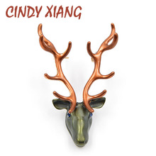 CINDY XIANG 2 Colors Choose Enamel Pin Reindeer Brooches Unisex Deer Brooch Pin Christmas Deer Jewelry Women Men Accessories недорого