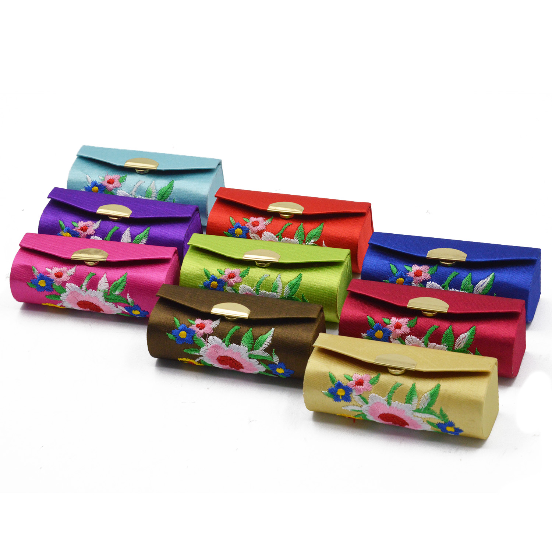 NC 3Pcs Fashion Portable Lipstick Case Retro Flower Pattern Premium Embroidery Brocade Holder Box with Mirror Random Color