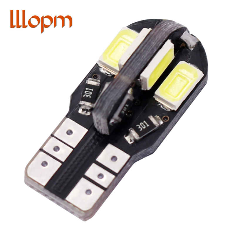 1pcs T10 8SMD 5630 LED Car Light Canbus NO OBC ERROR Auto Wedge Lamp 2825 W5W 8 SMD 5630 Led Parking Bulb 12V white Car-styling t10 3w 144lm 6 x smd 5630 led error free canbus white light car lamp dc 12v 2 pcs page 9