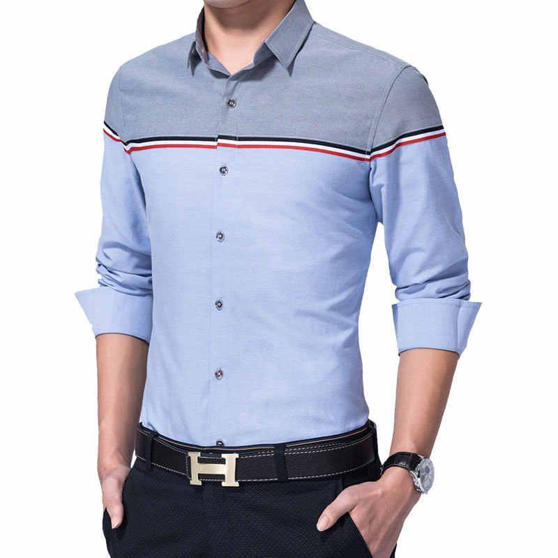 2019 חדש סתיו אופנה מותג גברים בגדי Slim Fit גברים ארוך שרוול חולצת גברים טלאים מזדמן תחתונית גברים חולצה חברתית