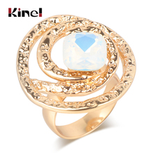 Kinel Luxury Square Opal Rings For Women Geometric Retro Look Gold Color Wedding Ring Fashion Jewelry Gift 2019 New