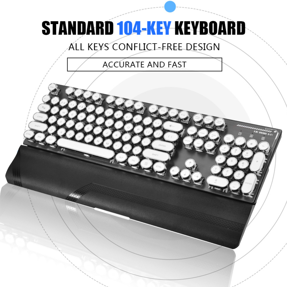 104-Key USB Wired Gaming Mechanical Keyboard w/ LED Backlit Detachable Round Keycabs Waterproof genius k7 usb wired blue red led backlit 104 key keyboard