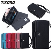 2 In 1 Multifunction Zipper Leather Cash Clutch Card Holder Wallet Cell Phone Case For Samsung