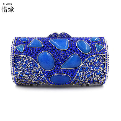 XI YUAN BRAND female new luxury agate agate diamond day clutches wallets High-grade cylinder Crystal evening handbags bag blue