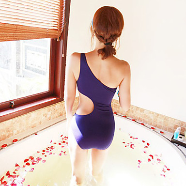 One Shoulder Waist Uncover One-Piece Swimwear