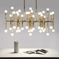 Современные прямоугольная люстра бамбука Droplight светло бронзовый цвет дизайнер дома Таблица освещения 100 240 В золото/хром