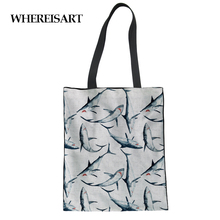WHEREISART Cartoon Shark Dolphin Canvas Shopper Folding Shopping Bag Women Beach Eco Grocery Girls Designer Bolsa Feminina