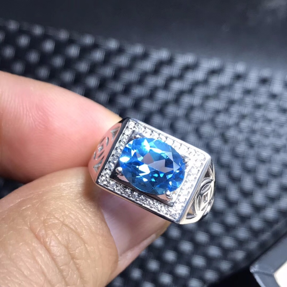 Royal Blue Topaz men s RING 925 silver customized ring size new recommended simple ring