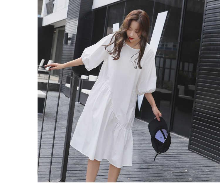Z-ZOUX женское платье-рубашка хлопковое платье свободное асимметричное черное белое длинное платье Плюс Размер Женская повседневная одежда 2018 Boho винтажная Новинка