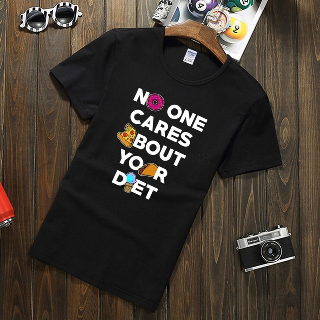 7e3d9d4f1 No One Cares About Your Diet Funny Fitness Graphic Tee mens t shirt fashion  spring cotton tshirt big size Topic men's t-shirt