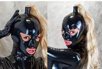Latex Costumes Bondage with hair inclusion wigs holder sexy man women cosplay w back zipper