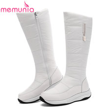 MEMUNIA Plus größe 35-44 Echtem leder schnee stiefel frauen keile plattform zipper dickes fell warme winter stiefel weiß knie hohe boot(China)