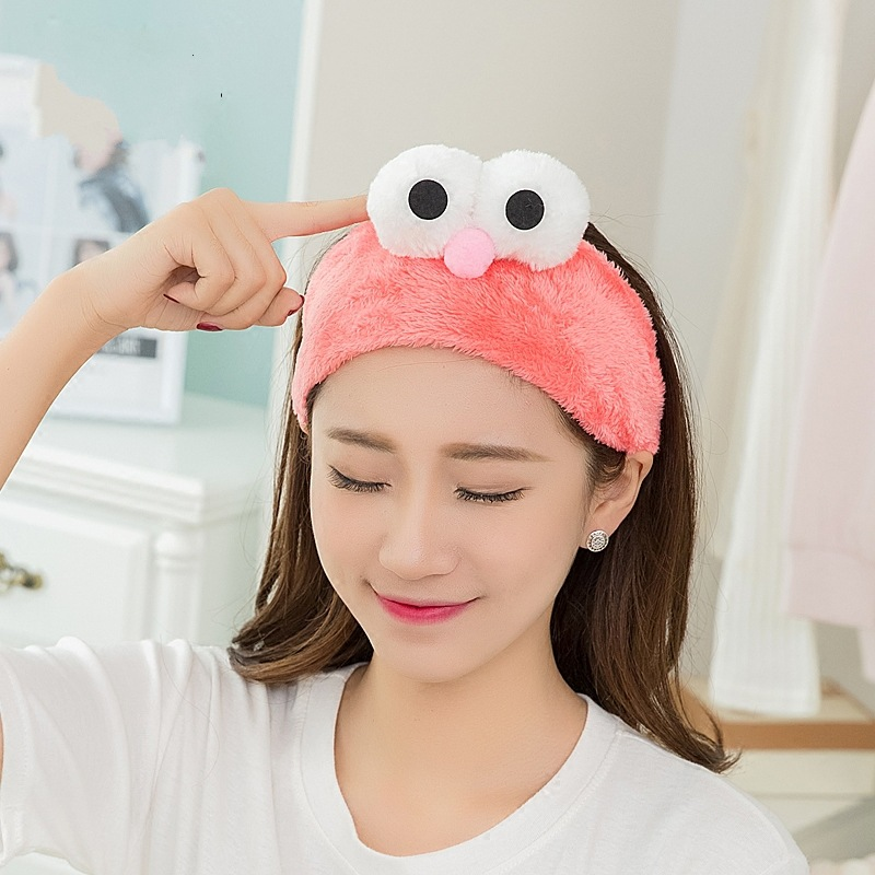 Colorful Rubber Cute Hair Ornament Big Eyes Velvet Headband For Wash Face Makeup Beauty Bath Gargle Hair Accessories Headpiece