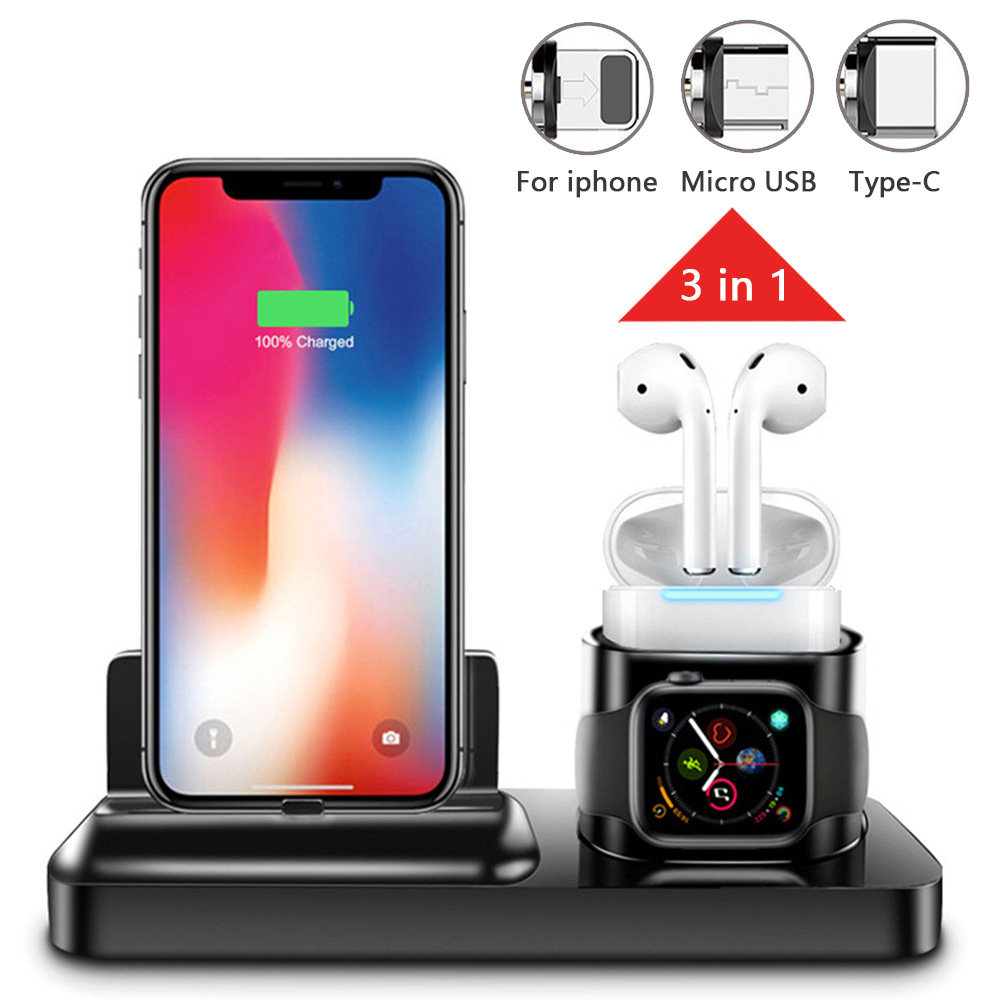 Stand-Pad-Connector Apple-Watch IPhone Samsung For 3-In-1 Airpods Magnetic-Charging-Dock