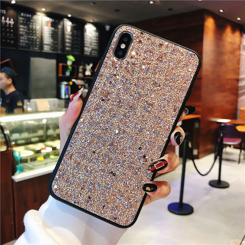 Super Bling Phone Case for iPhone 8 Xs Max Xr Luxury Diamond Texture Cases for