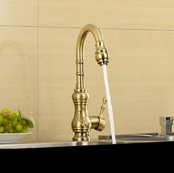 ФОТО New Antique Bronze Finish Carved Pattern Kitchen Inspired Centerest Sink Faucet