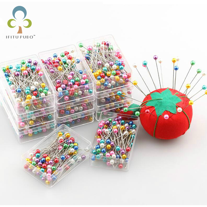 200 Pcs/lot Round Pearl Head Dressmaking Pins Weddings Corsage Florists Sewing Pin With Box Accessories Tools GYH
