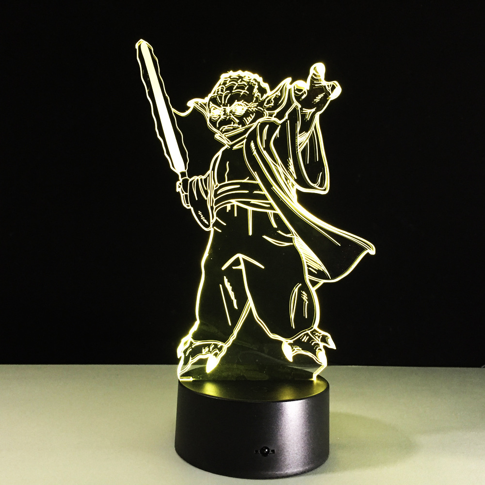 Star Wars Master Yoda 3D Led Light Star Wars Visual Night Lights Acrylic USB LED Creative 3D Lighting Lamp For Chrismas