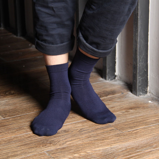 1a76da50f904 Mens Dress Socks Business Black White Grey Navy Blue 5Colors Antibacterial  Hygroscopic Breathable Bamboo Socks Quick Dry