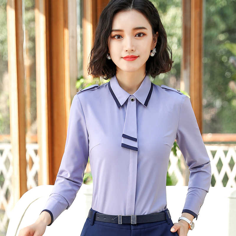 Women Shirt White Tops Spring Business Womens Tops and Blouses Long Sleeve Bow Slim Formal Chiffon Blouses Office Blusa Feminina