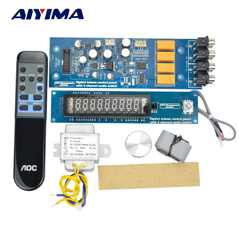 Aiyima VFD Screen Remote Control Digital Volume Control Board HiFi Preamplifier 4 Way Audio Sswitching Power Amplifier AC12V