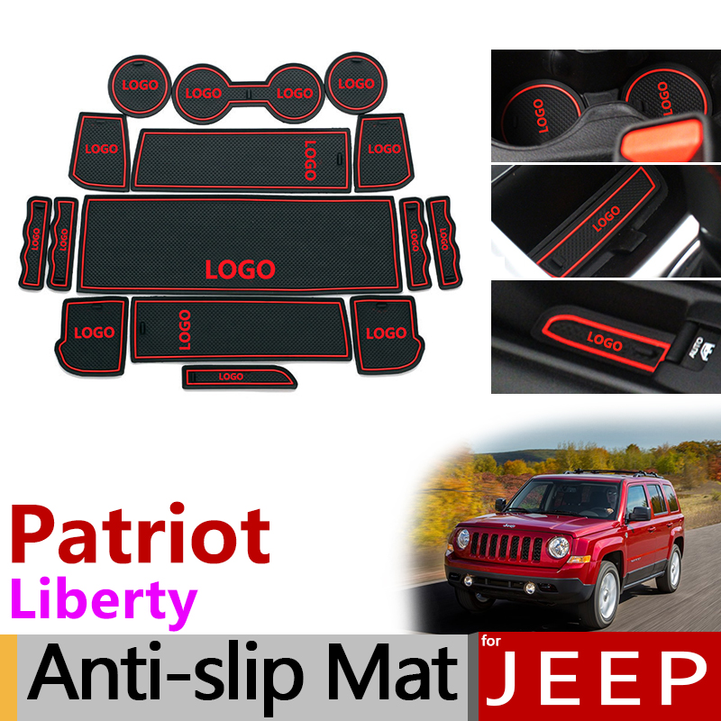 Anti-Slip Rubber Gate Slot Cup Mat For Jeep Patriot 2007 - 2016 Liberty Car Accessories 2008 2009 2010 2011 2012 2013 2014 2015