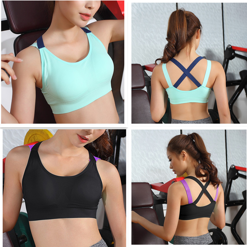 c675a9b6ee ful Strappy Sports Bra Cross Back Tops Ladies Gym Running Tanks ...