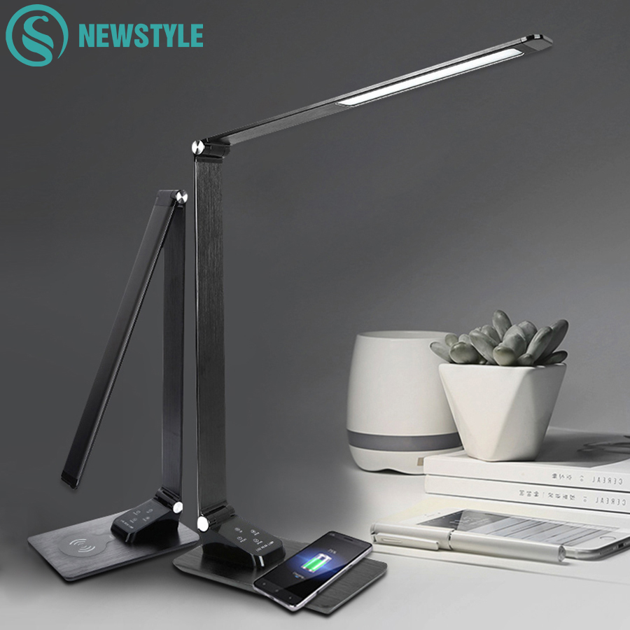 LED Desk Lamp Foldable Dimmable Touch Table Lamp with Calendar Time Alarm Clock Reading Table Light USB Wireless ChargingLED Desk Lamp Foldable Dimmable Touch Table Lamp with Calendar Time Alarm Clock Reading Table Light USB Wireless Charging