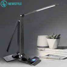 LED Desk Lamp Foldable Dimmable Touch Table Lamp with Calendar Time Alarm Clock Reading Table Light USB Wireless Charging(China)