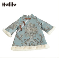 Halilo Baby Long Sleeve Dress A Line Cotton Warm Infant Dresses Floral Retro Chinese New Year