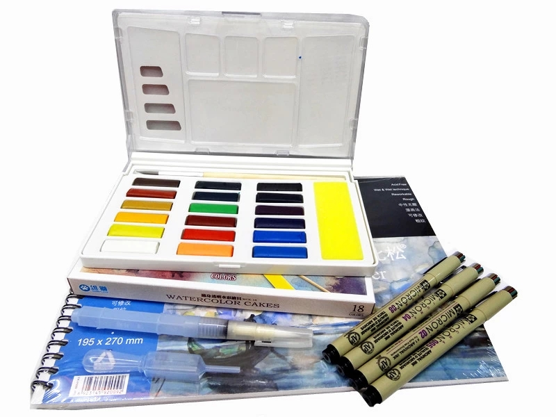 Free Shipping SIMBALION 18/12 color watercolor Pigment Set solid portable Contain Watercolor pen/Watercolor paper/Hook line penFree Shipping SIMBALION 18/12 color watercolor Pigment Set solid portable Contain Watercolor pen/Watercolor paper/Hook line pen