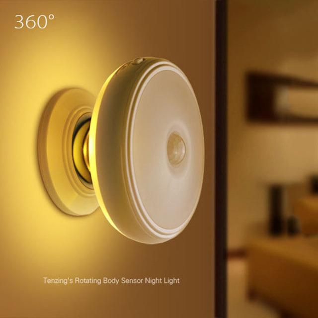 Motion Sensor Light 360 Degree Rotating Rechargeable LED Night Light Security