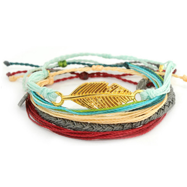 Braided Adjule Tie Clasp Friendship Bracelet Gold Leave Charm Handmade String Rope Cord Jewelry Stack