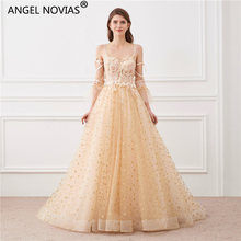 Angel Novias Long Gold Lace Evening Dress 2019