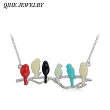 Qihe joyería esmalte amor animal lindo aves colgante seis pájaro en la rama mujeres largo collar de cadena fina joyería Accesorios