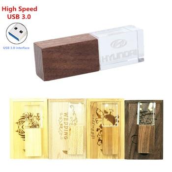 Wooden Crystal USB 3.0 Flash Drive Personalized Photo 8GB 16GB 32GB USB 3.0 Pendrive + wood box Custom Logo for Wedding Gifts