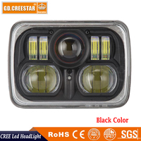 7x6 Crystal 54W Square High Low Beam H4 LED Projector Headlights 12V 24V 54W Led Headlight